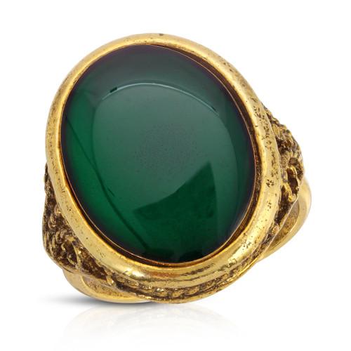 Vintage 60's Emerald Glass Cabachon Filigree Ring