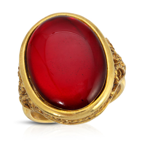Vintage 60's Ruby Glass Cabachon Filigree Ring