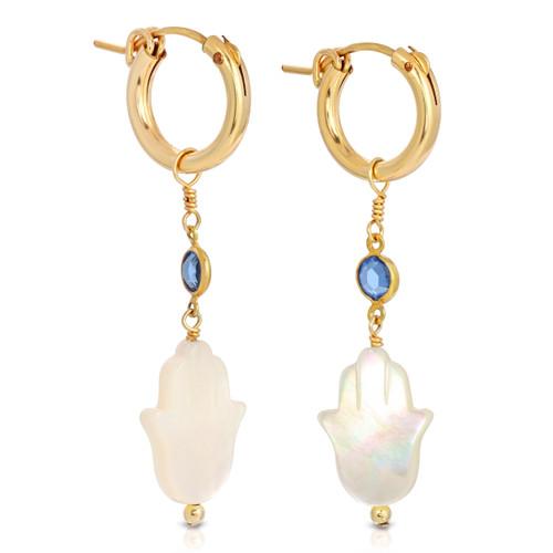 Mother of Pearl Hamsa Hoop Earrings