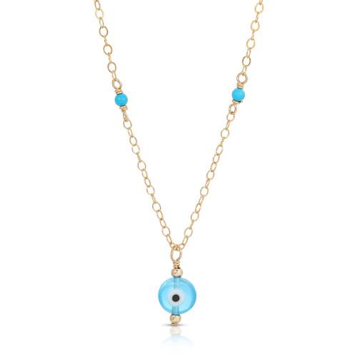 Tiny Evil Eye Gemstone Studded Necklace