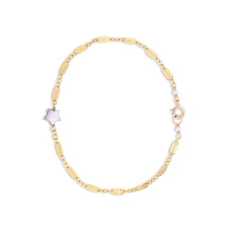 Mother of Pearl Star Bracelet on Diamond Chain