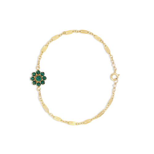 Emerald Daisy Bracelet on Diamond Chain