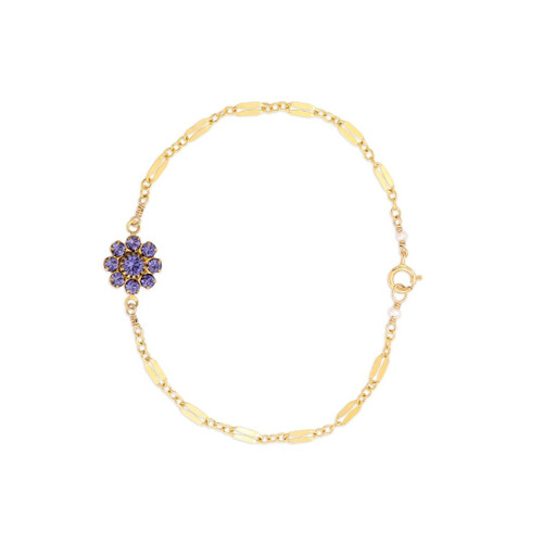 Amethyst Daisy Bracelet on Diamond Chain