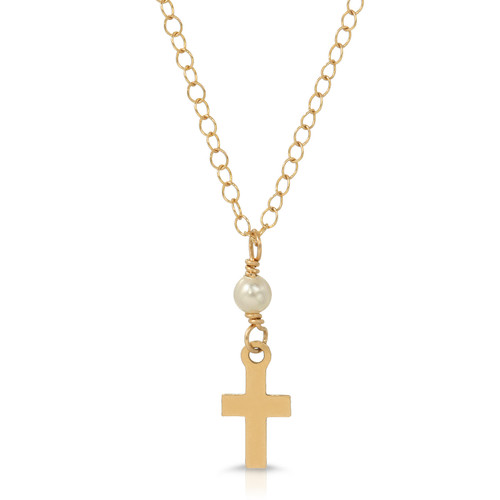 Tiny Gold Cross Necklace with Pearl