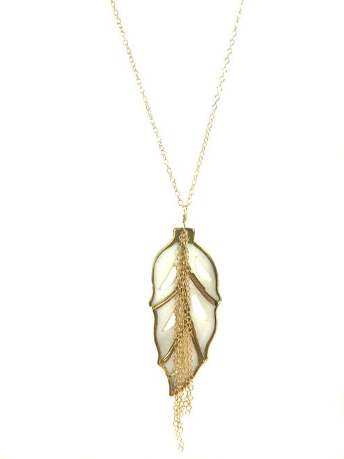 Mother of Pearl Leaf Fringe Necklace