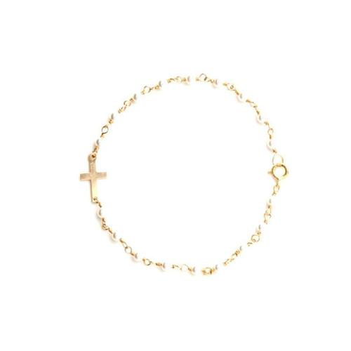 Lucia Pearl Cross Bracelet