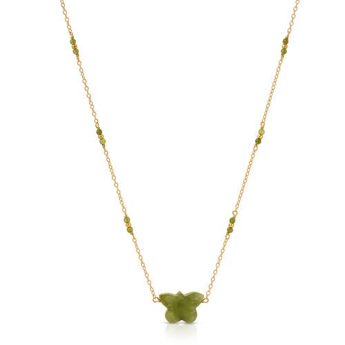 Nephrite Jade Butterfly Necklace