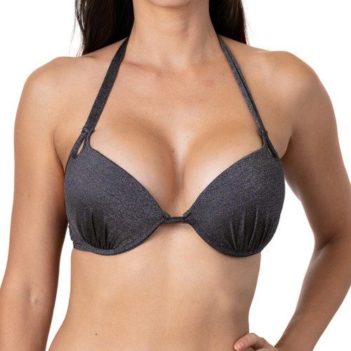 Metallic Black Underwire Padded Push up Top