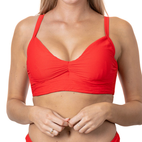 Cherry Underwire Tie Back Top