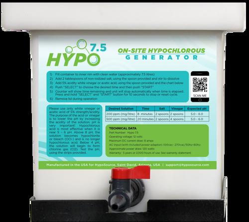 Hypo 7.5 Hypochlorous Acid (HOCL) Generator - Makes 7.5 L (2 gal.)  at 500 ppm
