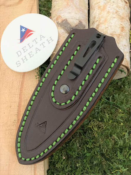 Gentleman's Classic Leather Pocket Sheath - Dark Brown English Bridle Leather with Toxic Green Thread