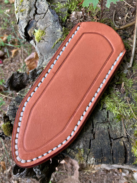 Delta Shield Mini Belt Sheath - Chestnut brown with white