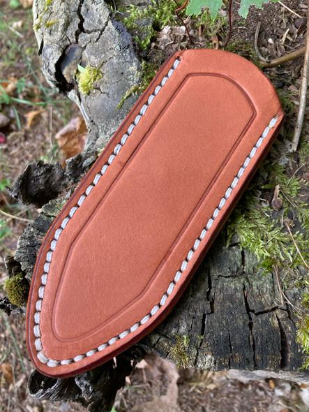 Delta Shield Mini Belt Sheath - Chestnut brown leather with white thread