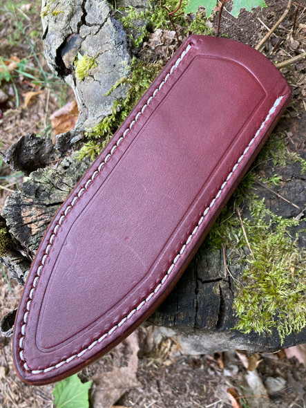 Delta Shield Standard Leather Belt Sheath. Burgundy English Bridle with white thread shown.