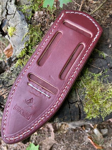 Delta Shield Standard Leather Belt Sheath. Burgundy English Bridle with white thread shown. - Back