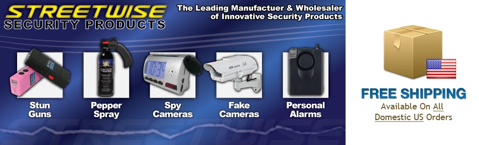 Stun Guns, Pepper Spray, Spy Cameras, Fake Cameras, Personal Alarms, Free Shipping on US Orders