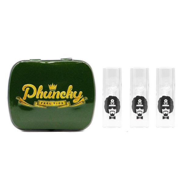 Phuncky Feel Tips 10MM DR. GREENTHUMB LOGO CLEAR 3 PACK (LIPLESS)