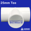 25mm PVC Tee from Klever cages. Fits 25mm PVC plumbing pressure pipe with an OD of 33.40mm. Great for your next project , cat enclosure , garden protection , chicken coops , ball pits, change rooms, greenhouses, shade houses and more.