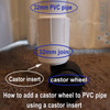 An example of how to use a castor cap insert from Klever Cages. Castor cap insert needs to go into a connector such as a joiner then the joiner fits the 32mm PVC plumbing pressure pipe