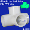 Glow in the dark 20mm L-tee connector from Klever Cages for building PVC projects