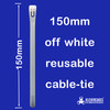 150mm off white reusable cable zip tie from Klever Cages Australia