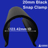 Black Snap Clamp lite 10cms long and fits 20mm PVC pipe from Klever Cages for building PVC projects