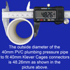 Outside diametre of a 40mm PVC pressure pipe to fit 40mm connectors from Klever Cages is 48.26mm