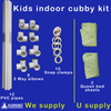kids indoor cubby house kit. Consists of 3 way elbow connector fitting, PVC pipes, Snap Clamps and the customer will need to supply 2 x queen sized bed sheets