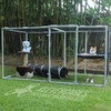 Portable DIY cat enclosure kit from Klever Cages Australia. Built with PVC pipe and 20mm Klever Connectors with cat netting attached with Snap Clamps. This cat enclosure has a hammock, 2 cats a play tunnel, and water and food bowl in the photo.