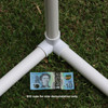 32mm 3way elbow Klever Connector from Klever Cages in use with 3 x 32mm white PVC plumbing pressure pipes on the grass with an Australian $10 note used to show the size of the pipes