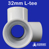 32mm 4 way l tee PVC connector white to fit 32mm or 1/4 inch plumbing pressure pipe