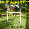Dog agility jump kit built with PVC connectors and pipe from Klever Cages to add to your dog agility course