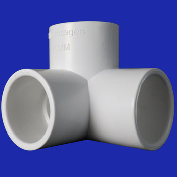 Side view of white 3way connector fitting from Klever Cages that fits 20mm PVC pipe. Make PVC projects including cat enclosure, chicken coops, kids cubby, garden protection or anything else you can think of.