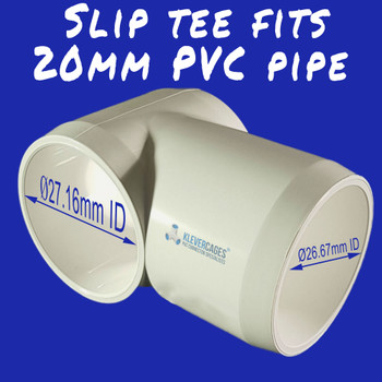 20mm slip tee fitting-connector to slip onto 20mm PVC plumbing pressure pipe for your next PVC project from Klever Cages
