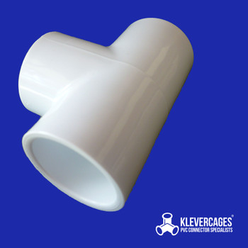 25mm white PVC tee from Klever cages fits 25mm PVC plumbing pressure pipe