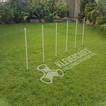 Dog agility weave poles for a dog agility course made from PVC connectors(caps, PVC pipe and stakes) from Klever Cages Australia