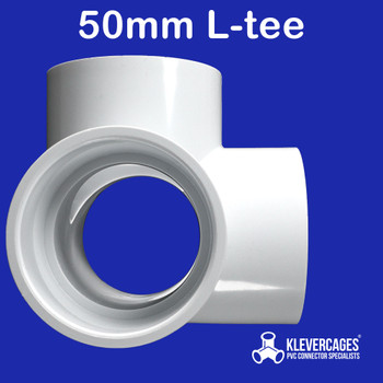 4 way l tee PVC connector 50mm from Klever Cages fits 50mm PVC pipe