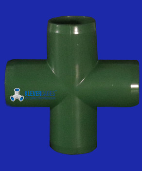 Side view of 25mm PVC green 4 way connector