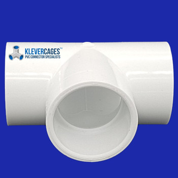 White 20mm PVC connector from Klever Cages suits 20mm PVC plumbing pressure pipe