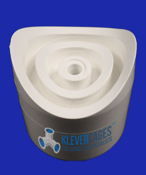 Side view of a 25mm PVC fishmouth connector from Klever Cages Australia