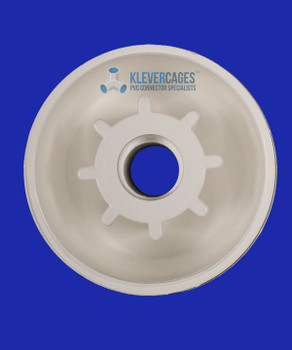 Underside of a PVC castor cap used to attach a wheel for your next PVC project.