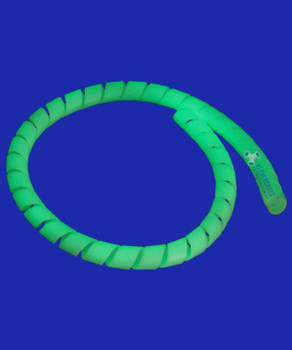 Glowing green glow in the dark spiral wrap for PVC plumbing pressure pipes from Klever Cages