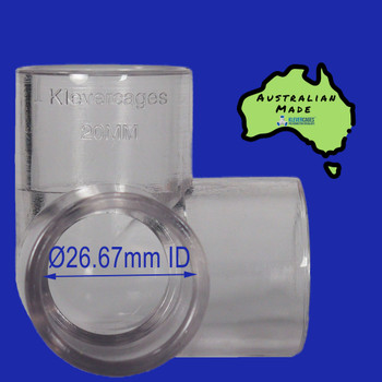 Clear 3 way connector 20mm to fit PVC plumbing pressure pipe or clear pipe from Klever Cages