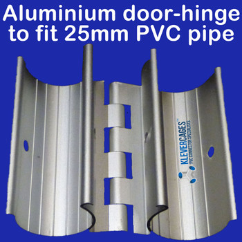 Aluminium hinge snaps onto PVC pipe from Klever cages to attach a door to your PVC projects - including, cat enclosures, garden protection frames supporting bird netting, chicken coops and many more.