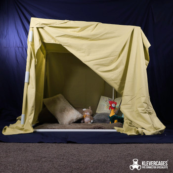 Kids indoor cubby house kit built with PVC pipe and connectors from Klever Cages