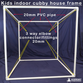 PVC pipe and ABS connector frame for a kids indoor cubby kit from Klever cages