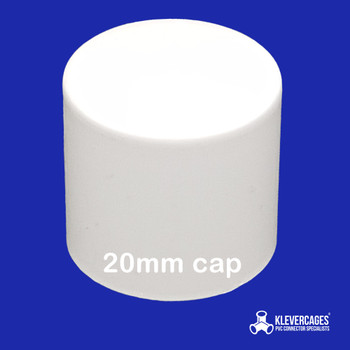 20mm PVC pipe end cap from Klever Cages to use for your dog agility jumps and more.