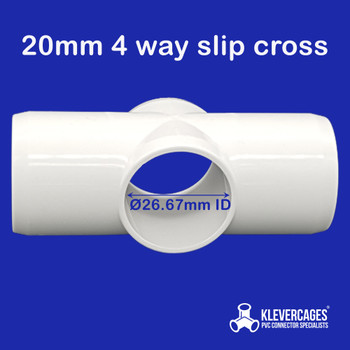20mm 4 way slip cross connector fitting fits PVC pipe with an outside diametre of 26.67mm