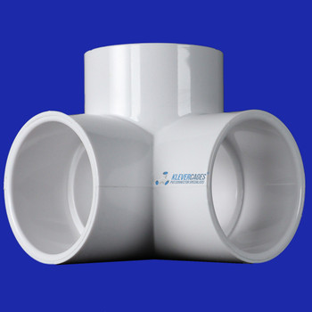 3 way PVC elbow 40mm fitting connector from Klever Cages Australia fits 40mm PVC plumbing pressure pipe to make PVC projects including greenhouse frames, garden protection and more.