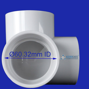 50mm 3 way elbow connector fitting suits 50mm PVC pipe for DIY PVC projects including Greenhouses, Chicken runs, chicken coops, DIY camping equipment, garden protection and fruit tree protection